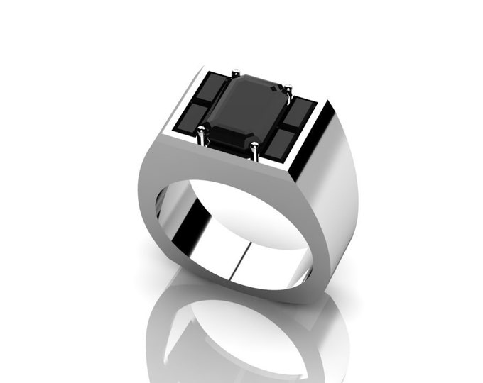 14k White Gold Engagement or Wedding Ring for men with Black Diamond Item # RFMOOO-X-264