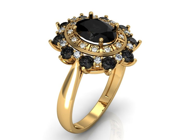 18k Yellow Gold Classic Engagementor Wedding Ring with Diamond and Black Diuamond Item # LARFW -00755
