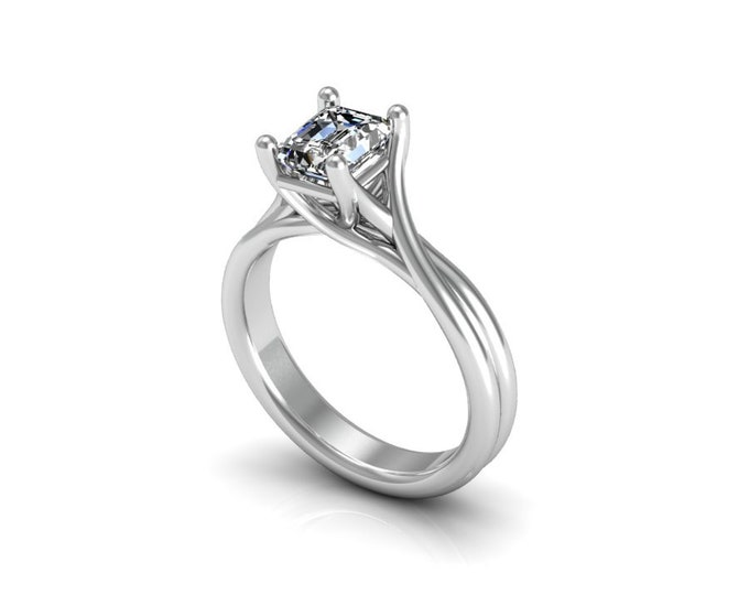 14K White Gold Engagement or Wedding Ring with Moissanite Item # LAFW-000-X-138