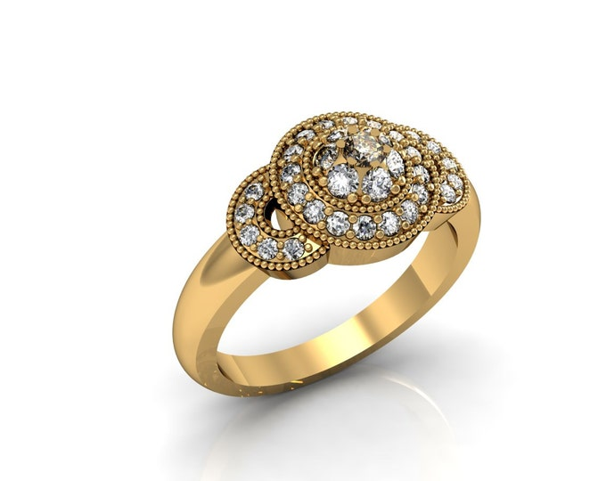18k Yellow Gold Classic Engagement or Wedding Ring with Diamond Item # LARFW -00715