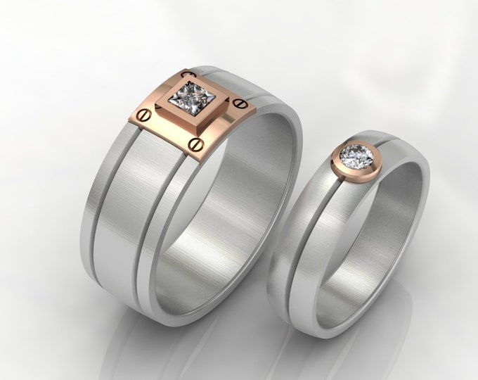 14k White and Rose Gold Wedding Bands with Diamond Item # LAFM000-X-246