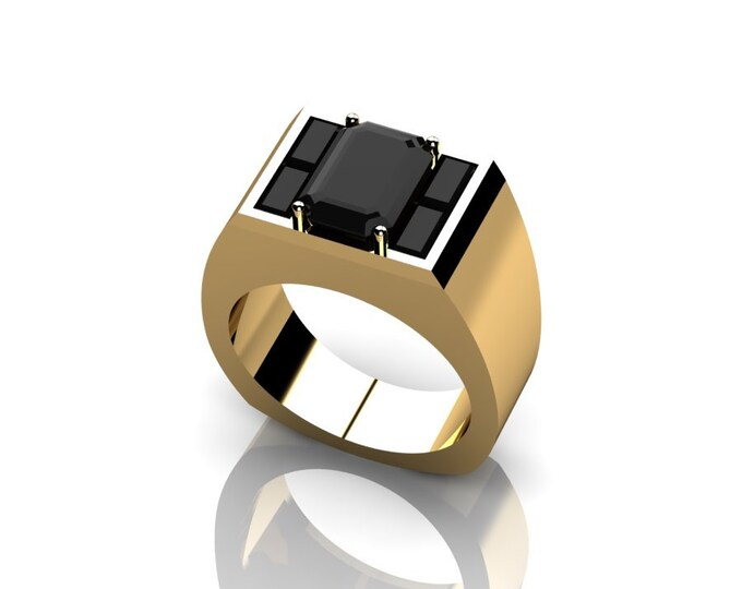 14k  Yellow Gold Engagement or Wedding Ring for men with Black Diamond Item # RFMOOO-X=262