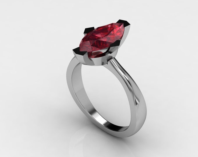Argonauts  14k White Gold Classic Engagement or Wedding Ring with Ruby Item # LAWR 00564