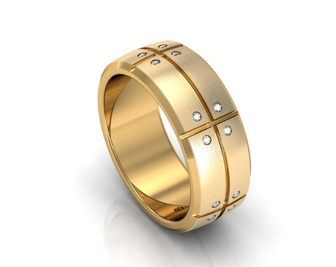 14k Yellow Gold Classic Engagement or Wedding Band with Diamond Item # RFM-000-X-91