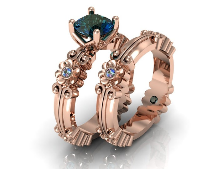 14k Rose Gold Wedding or Engagement Ring with Lab Created Alexsandrite Item # LAFW-000-X-349