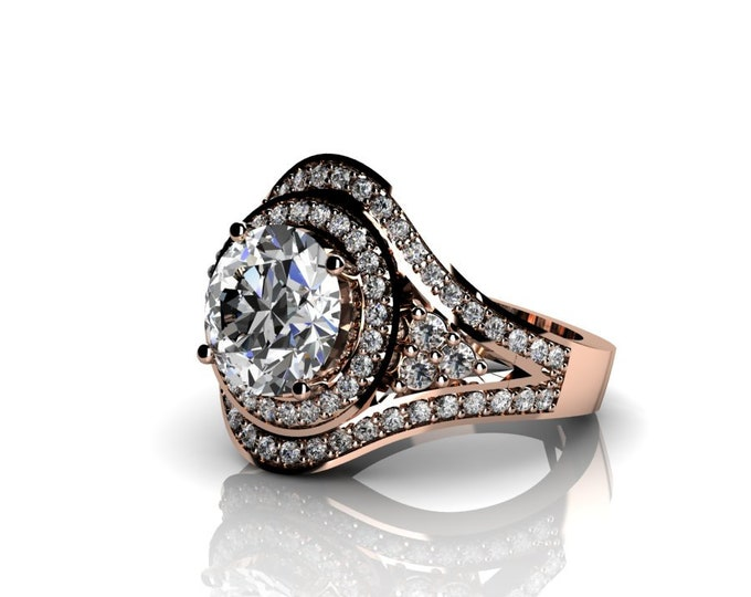 14k Rose Gold Wedding or Engagement Ring with Moissanite and Diamond Item # LAFW-000-X-328