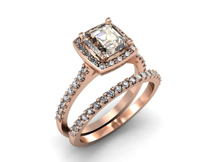 Elegant 14k Rose Gold Classic Engagement or Wedding Ring with Diamond and Morganite Item # LARFW-00854