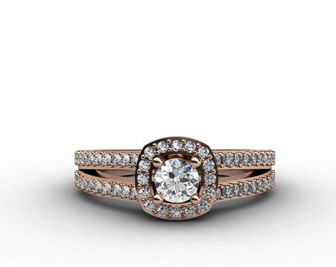 14k Rose Gold Classic Engagement or Wedding Ring with Diamond Item # LARFW -00684