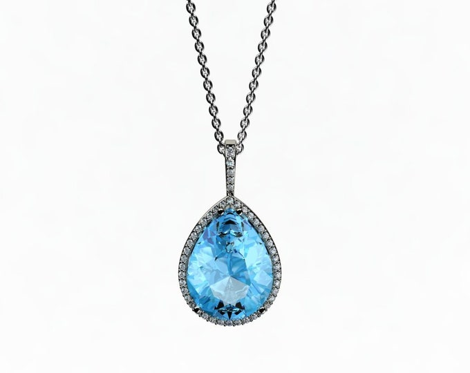 14k White Gold Pendant with 18-inch White Gold Chain, Blue Topaz and Diamond Item # LAFW-000-X-233