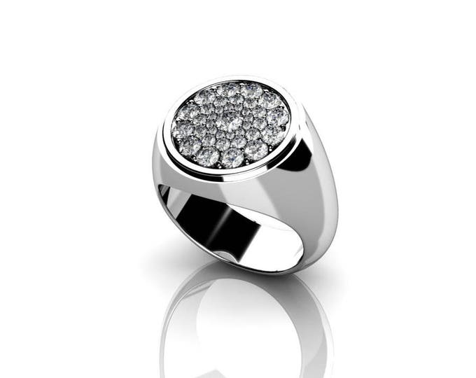 Honeycomb - 14k White Gold Classic Engagement or Wedding Ring with Diamond  Item # RFW-000-X-22
