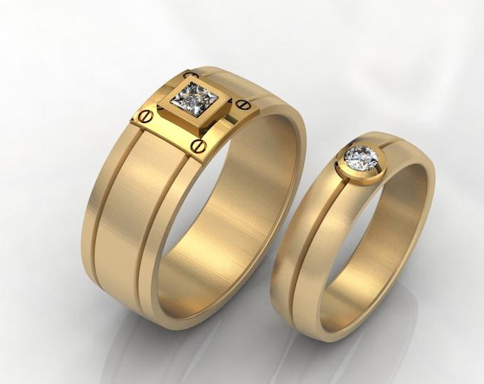 14k Yellow Gold Wedding Bands with Diamond Item # LAFM000-X-245