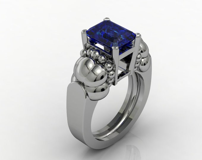 French Antique -14k White Gold  Engagement or Wedding Bridal with Blue Cubic Zerconia  Item # RFW - 0041