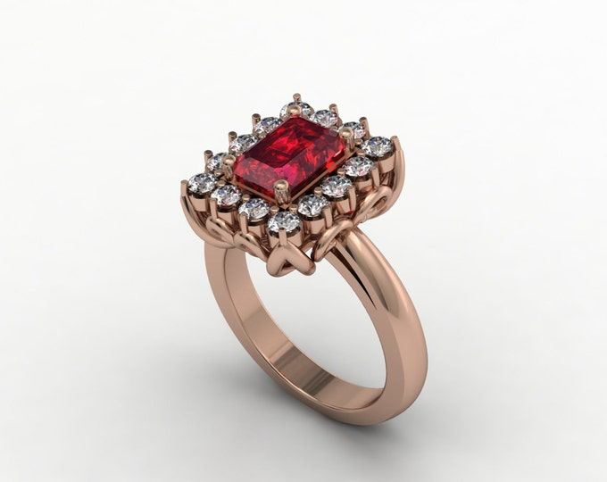 14k Rose Gold Classic Engagement or Wedding Ring with Diamond and Ruby Item #LARFW-00737