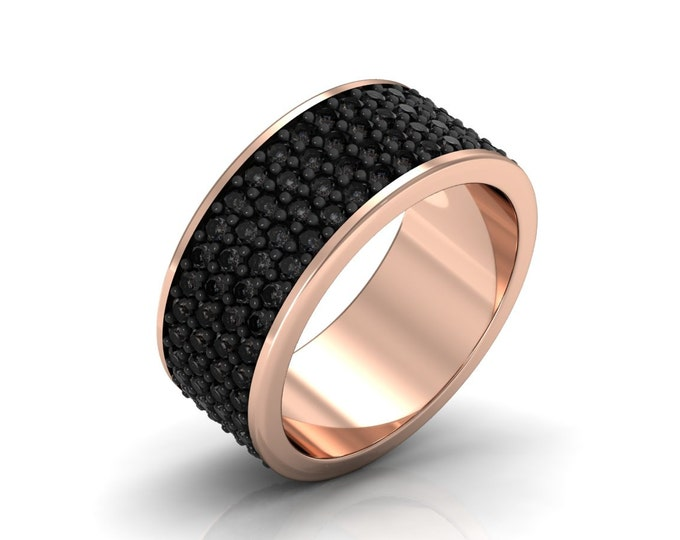 Black Caviar-14k Rose Gold Classic Engagement or Wedding Band with Black Diamond Item # LARFM -00609