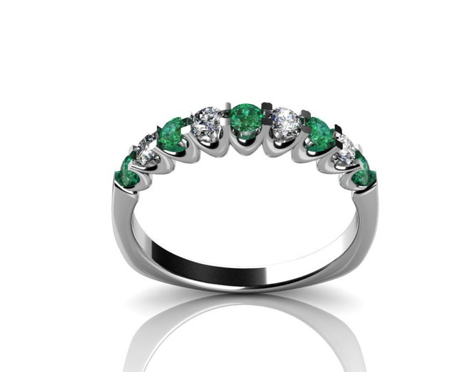14k White Gold Wedding or Engagement Ring with Diamond and Emerald Item # LAFW-000-X-225