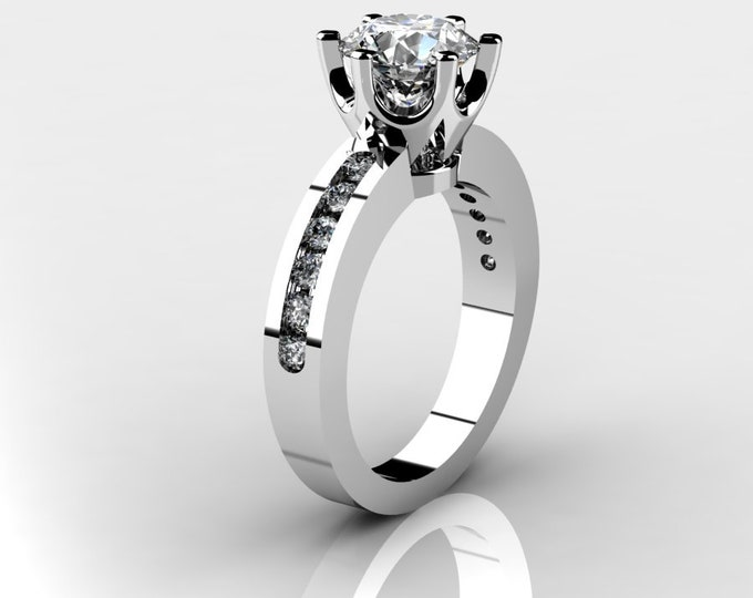 14k White Gold Wedding or Engagement Ring with Moissanite and Diamond Item # LAFW-000-X-343
