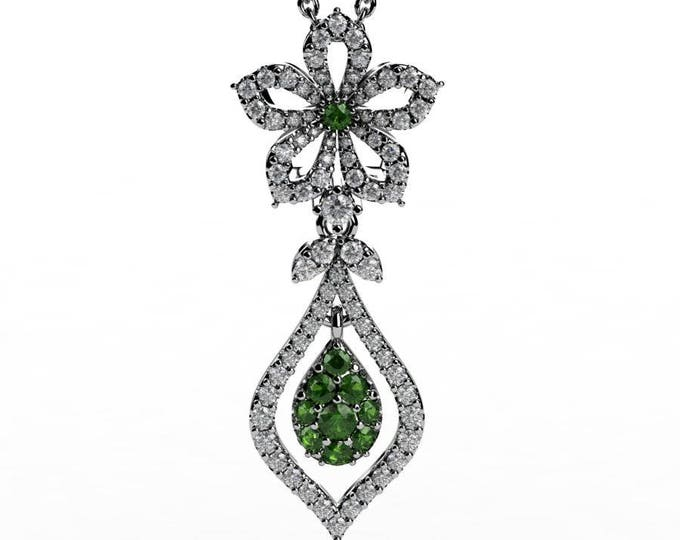 14k White Gold Pendants with 18 Inch Chain, Diamond, and Tourmaline Item # PFW-000-X-57