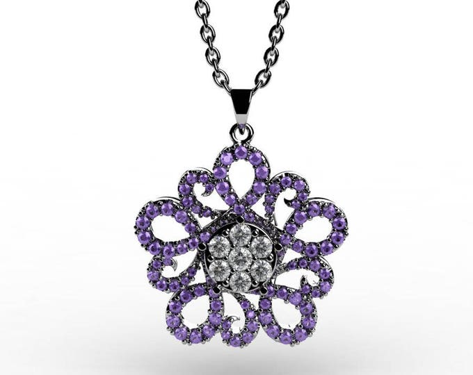 14k White Gold Pendants with 18 Inch Chain, Diamond, and Tanzanite Item # PFW-000-X-53