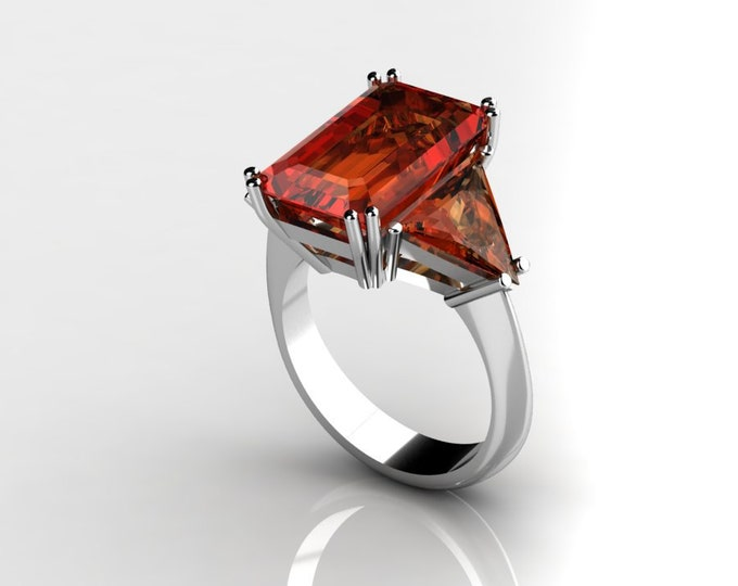 14k White Gold Classic Engagement or Wedding Ring with Garnet Item # RFW000-X-373
