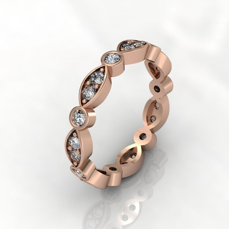14k Rose Gold Classic Engagement or wedding band with Diamond Item # RFW000-X-283