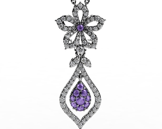 14k White Gold Pendants with 18 Inch Chain, Diamond, and Tanzanite Item # PFW-000-X-380