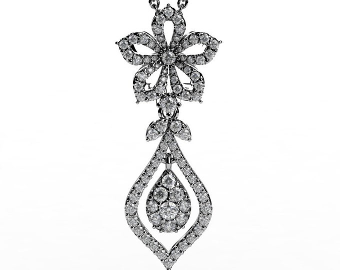 14k White Gold Pendants with 18 Inch Chain,and Diamond Item # PFW-000-X-381