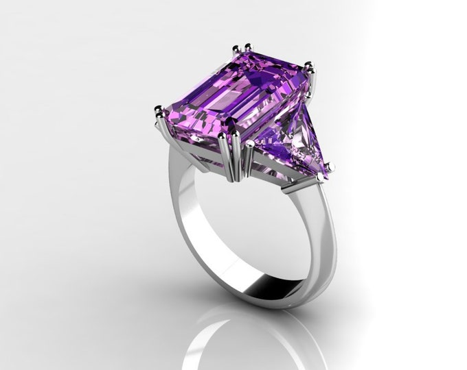 14k White Gold Classic Engagement or Wedding Ring with Amethyst Item # RFW000-X-370