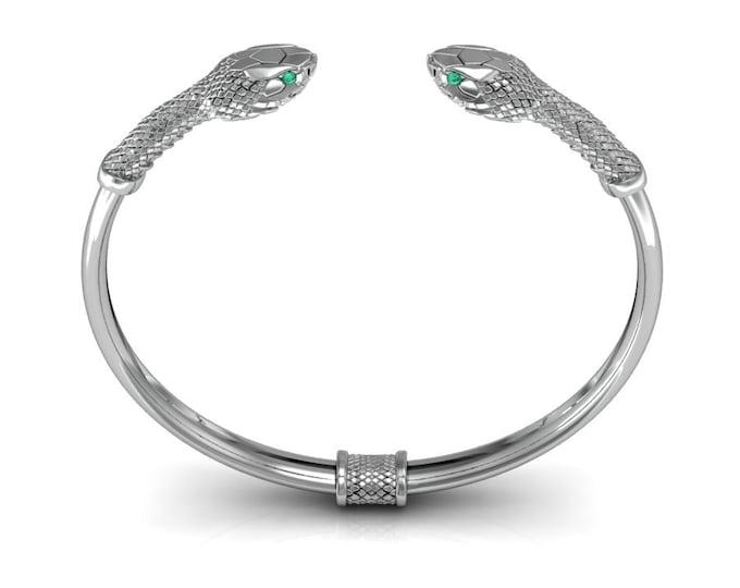 SNAKE-14K White Gold with Emerald  Bangles Bracelets Item # BFW-000-X-387