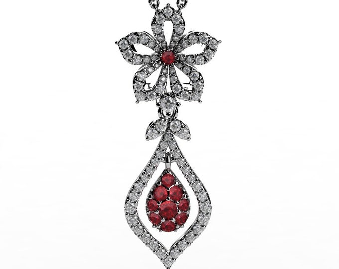 14k White Gold Pendants with 18 Inch Chain, Diamond, and Ruby Item # PFW-000-X-379