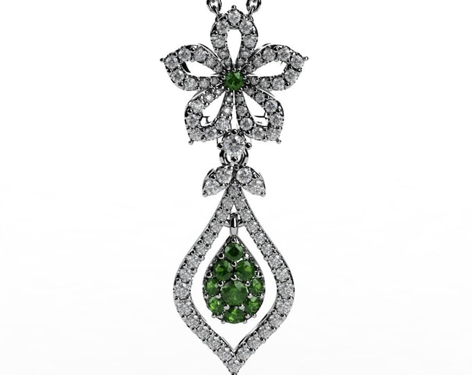 14k White Gold Pendants with 18 Inch Chain, Diamond, and Tourmaline Item # PFW-000-X-378