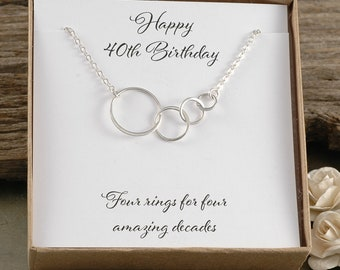 40th Birthday Gift Four circles for 40th Birthday Sterling Silver Happy Birthday Four rings for four amazing decades Gift for her & 40th birthday gift | Etsy