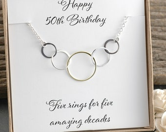 50th Birthday Gift Five Circles For Mixed Metal Necklace Happy Rings Amazing Decades Her