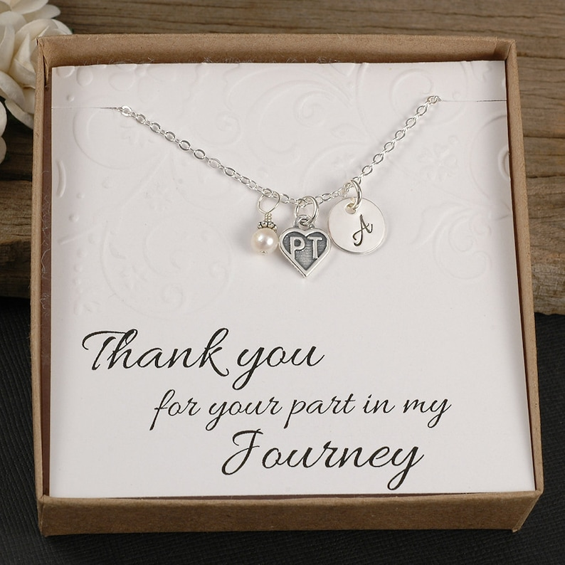 PT Physical Therapist Necklace  Therapist Gift  Sterling image 0