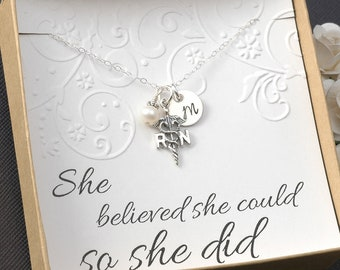 Sterling Silver - RN Registered Nurse Necklace  - Initial Charm, Pearl or Birthstone