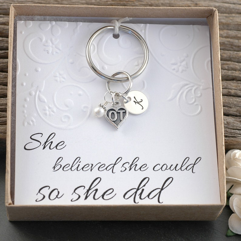 Initial Charm Therapist keychain Sterling Silver Key Ring Pearl or Birthstone OT Occupational Therapist Key Chain graduation keyring