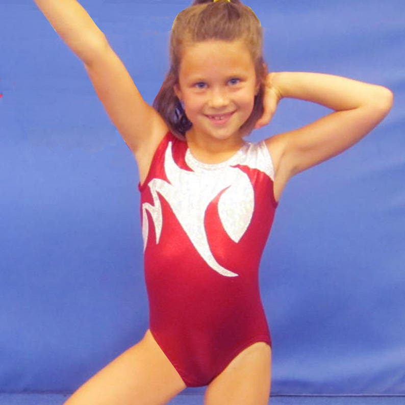 013c6a8130ab Gymnastics Girls Leotards Child size 4 6 8 10 12 14 Red | Etsy