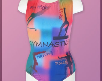 Gymnastics Themed Girls Leotard ORIGINAL DESIGN Child 12 pink green blue gray Collage NEW Youth sleeveless tank leo  ** In Stock **