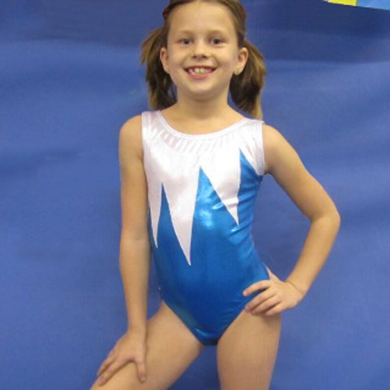 8ceef0fc7cfd Gymnastics Leotard Girls size Child 6 8 10 12 Turquoise White