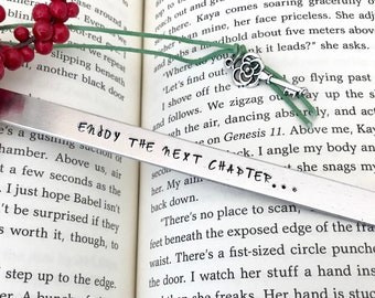 Custom Bookmark, Personalized Bookmark, Hand Stamped, Enjoy The Next Chapter, Friend Gift, Retirement Gift, Grandpa Gift, Grandma Gift