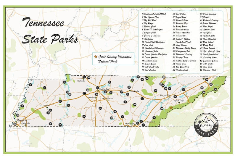 State Parks Tennessee Map.Tennessee State Parks Map Etsy
