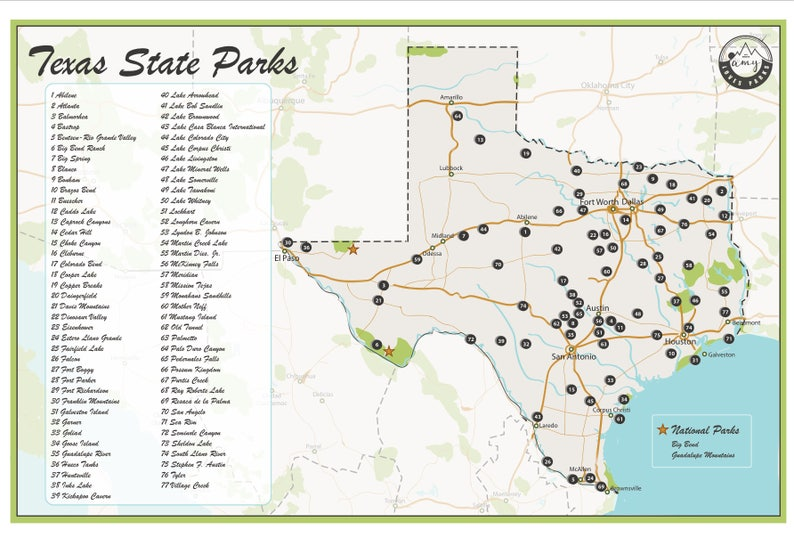 The Map Of Texas State.Texas State Parks Map Etsy
