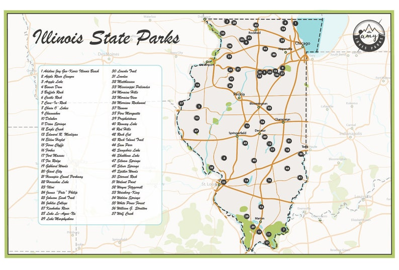State Parks Illinois Map.Illinois State Parks Map Etsy