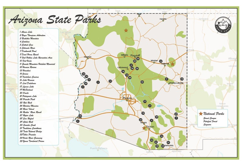 Map Of Arizona With National Parks.Arizona State Parks Map