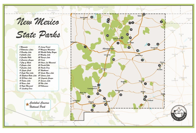 National Parks In New Mexico Map.New Mexico State Parks Map Etsy