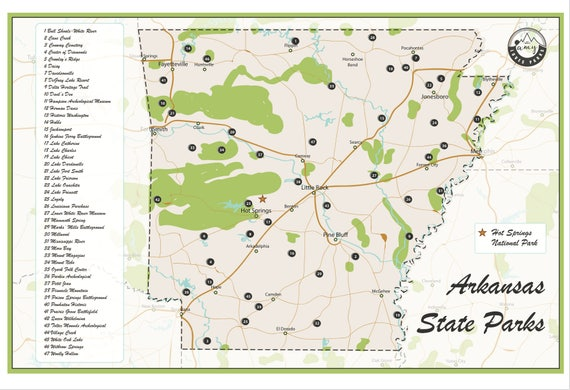 State Parks In Arkansas Map.Arkansas State Parks Map Etsy