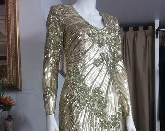 Mother of the Bride Dress, Gold Sequin Evening Gown, Handmade Elegant Sequin Dress