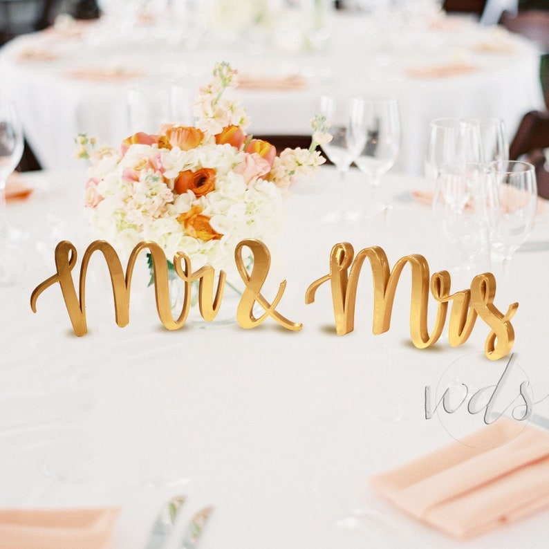 Mr and Mrs Sign, 5in  Gold Metallic Vintage Script Sweetheart table wedding  reception centerpiece table decor calligraphy- Free Shipping!