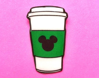 "Femme Foodie Collection ""Mouse Brew"" Starbucks Inspired Mickey Mouse Coffee Cup Pin"