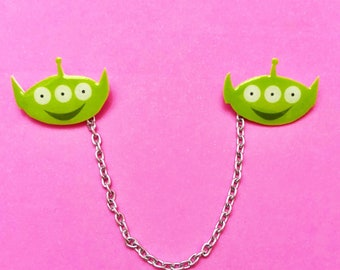 "Pixar Pals ""Pizza Planet Alien"" Green Toy Story Alien Inspired Collar clips or Sweater Guards"