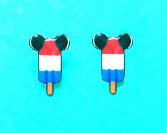 "Summer Time Collection ""Bomb Pop Mouse"" Mickey Mouse Inspired Bomb Pop Ice Cream Earrings"